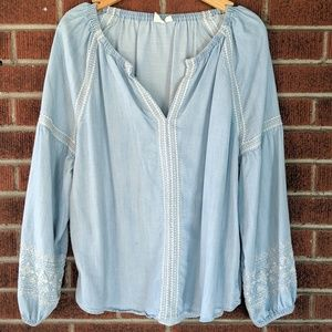 Gap Chambray Peasant Top